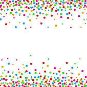 Colorful confetti dots on a white background