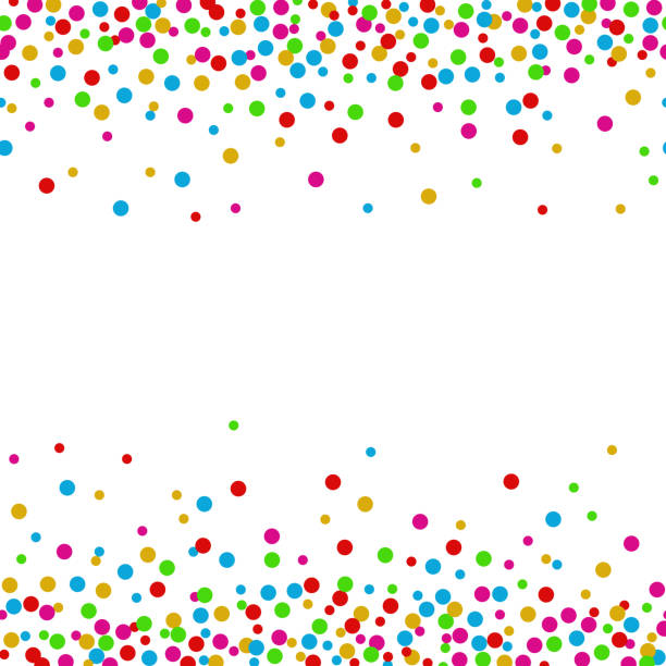 Colorful confetti dots on a white background vector illustration of polka dot stock illustrations