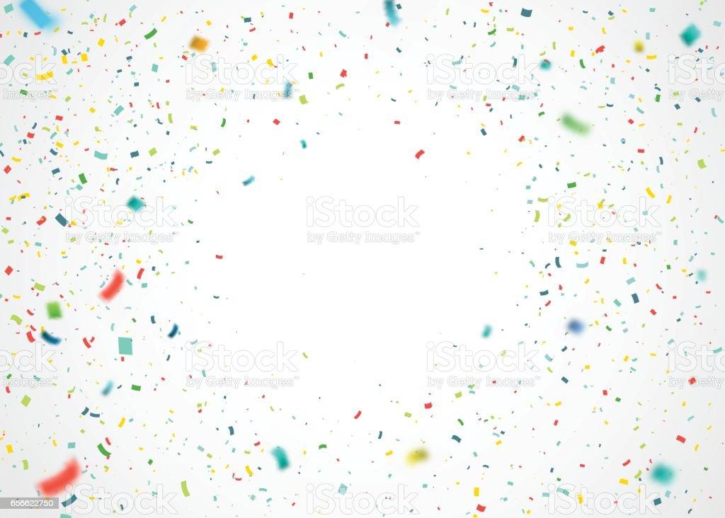 カラフルな紙吹雪がランダムに落ちる。爆発粒子と抽象的な白い背景。 ベクターアートイラスト