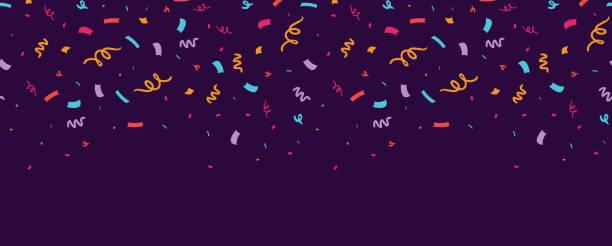stockillustraties, clipart, cartoons en iconen met kleurrijke confetti horizontale naadloze rand. - confetti