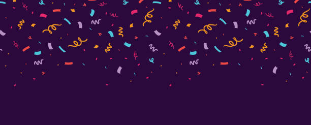 Colorful confetti horizontal seamless border. Colorful confetti horizontal seamless border. Great for a birthday party or an event celebration invitation or decor. Surface pattern design. birthday background stock illustrations