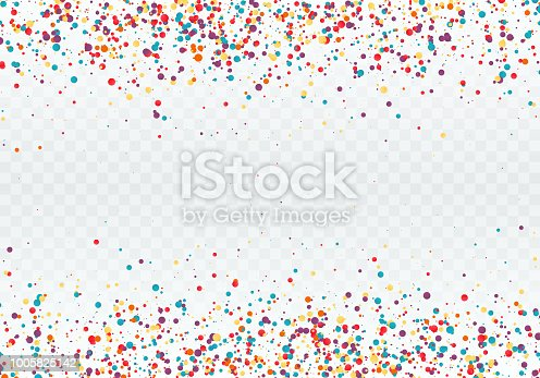 Colorful confetti in the form of circles. Top and bottom of the pattern is decorated with confetti. Vector illustration isolated on transparent background