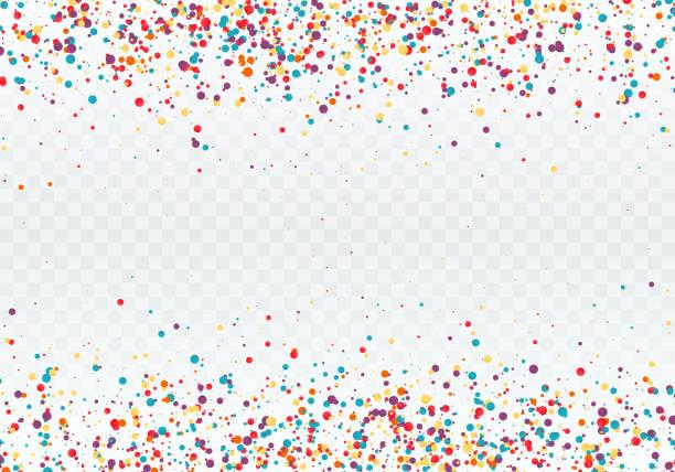 stockillustraties, clipart, cartoons en iconen met kleurrijke confetti in de vorm van cirkels. boven- en onderkant van het patroon is versierd met confetti. vectorillustratie geïsoleerd op transparante achtergrond - confetti