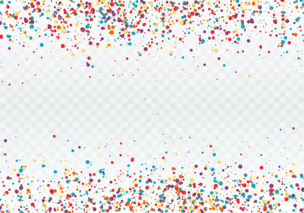 ilustrações de stock, clip art, desenhos animados e ícones de colorful confetti in the form of circles. top and bottom of the pattern is decorated with confetti. vector illustration isolated on transparent background - confete
