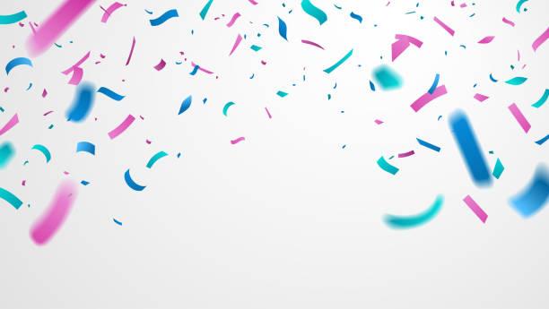 stockillustraties, clipart, cartoons en iconen met kleurrijke confetti geïsoleerd op witte achtergrond. vallende feestelijke confetti met motion blur. viering achtergrond voor uw ontwerp. vector illustratie. - confetti