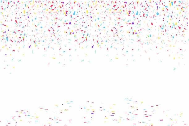 colorful confetti isolated on white background - confetti stock illustrations