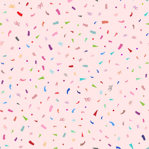 Colorful confetti on pink background. Cute festive seamless pattern. Colorful confetti on pink background. Cute festive seamless pattern. Endless vector illustration. birthday designs stock illustrations