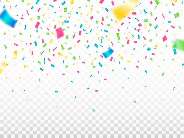 투명 한 배경에 다채로운 색종이입니다. 떨어지는 색상 색종이. 축제 장식 요소입니다. 사실적인 데초점 뱀. 카니발 템플릿입니다. 벡터 일러스트레이션 - celebration stock illustrations