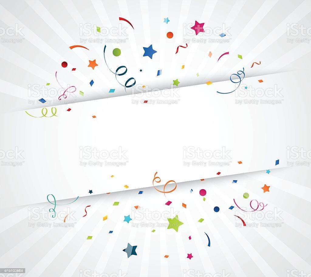 Kolorowy konfetti białym tle - Grafika wektorowa royalty-free (Bez ludzi)