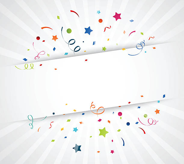 bildbanksillustrationer, clip art samt tecknat material och ikoner med colorful confetti on white background - årsdag