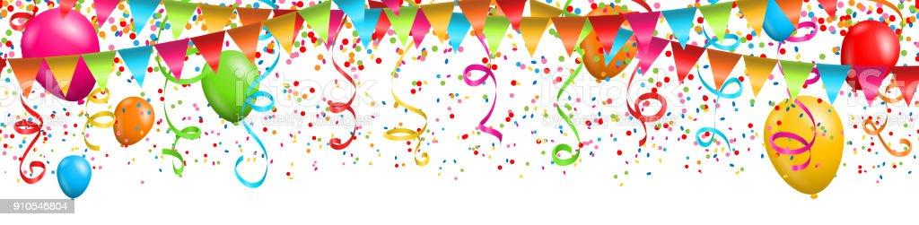 Colorful confetti with streamers and balloons on white background - Grafika wektorowa royalty-free (Abstrakcja)