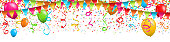 Colorful confetti with streamers and balloons on white background