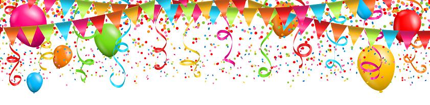 Colorful Confetti With Streamers And Balloons On White Background - Stockowe grafiki wektorowe i więcej obrazów Abstrakcja