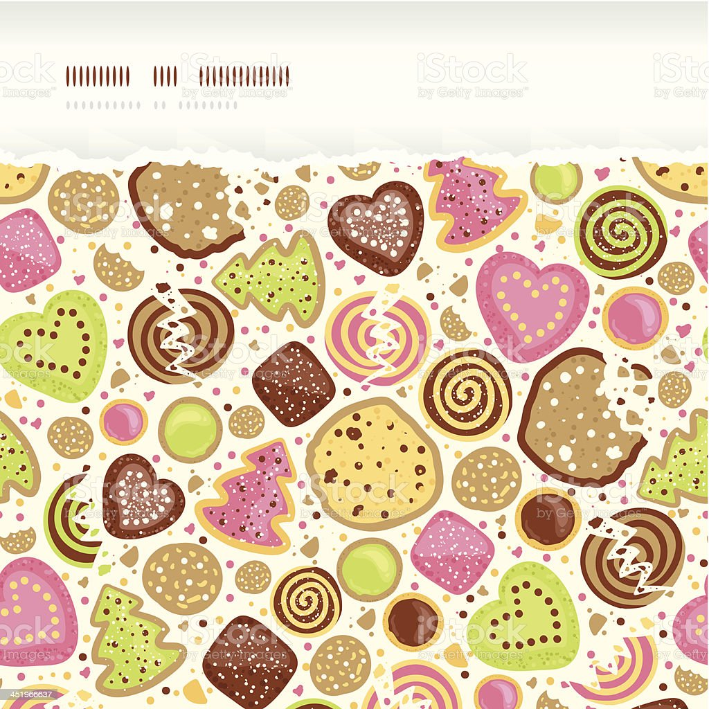 Colorful cookies horizontal torn seamless pattern background vector art illustration
