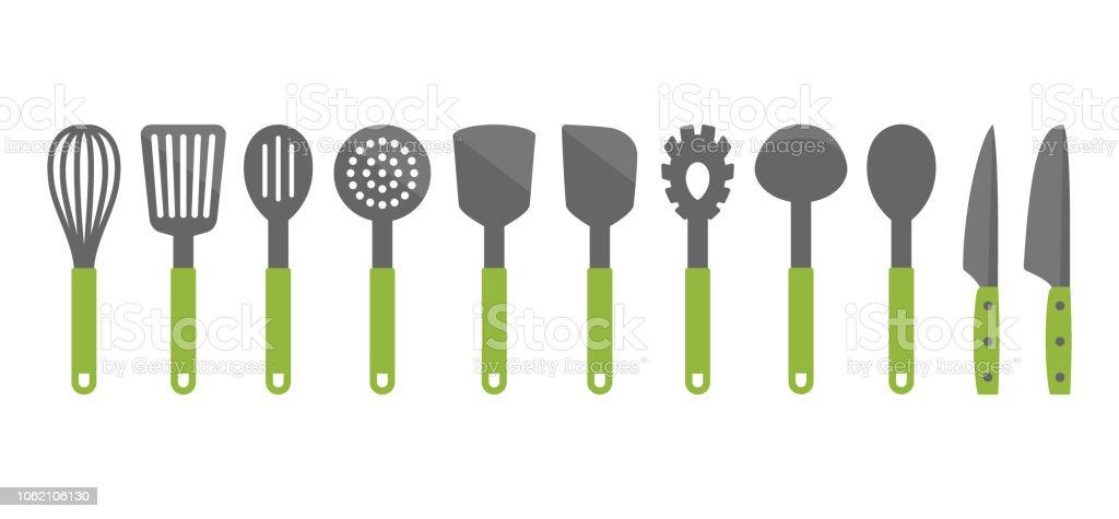 Bunte Kochset Kochgeschirr Tools Kuchenhelfer Vektorcartoonsymbole