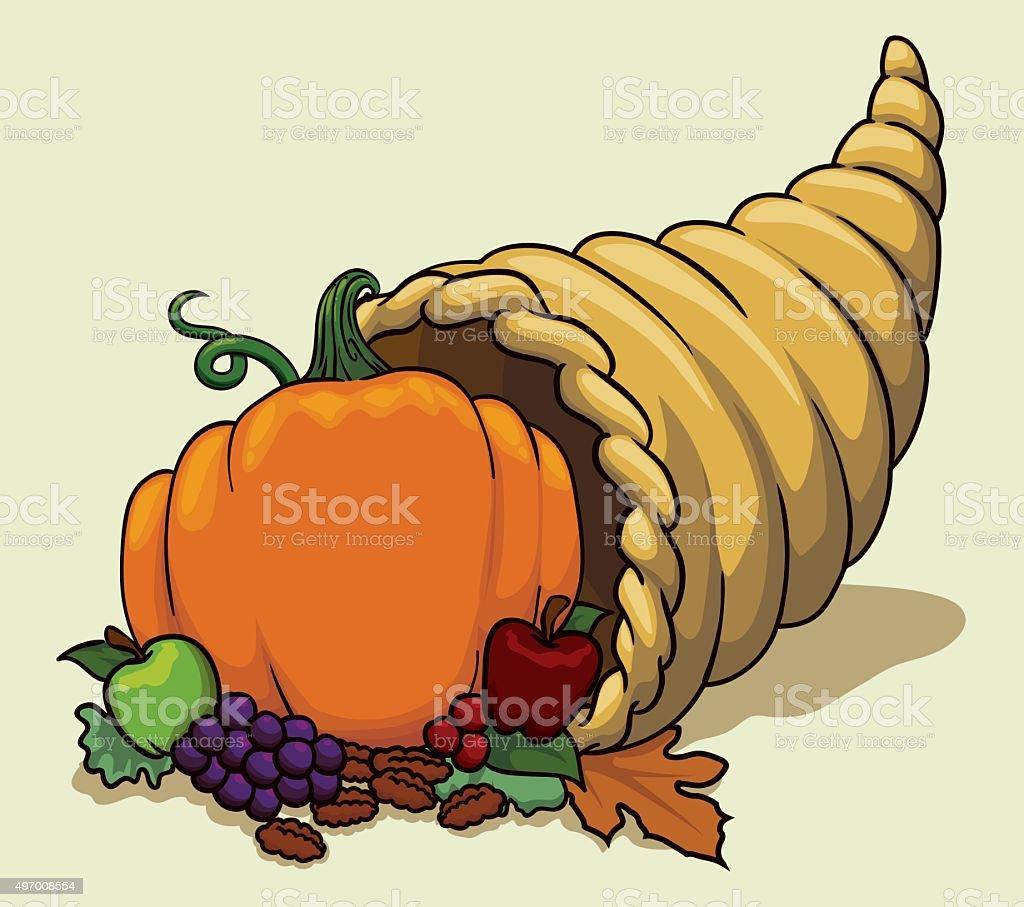 Colorful Cornucopia in Cartoon Style. vector art illustration