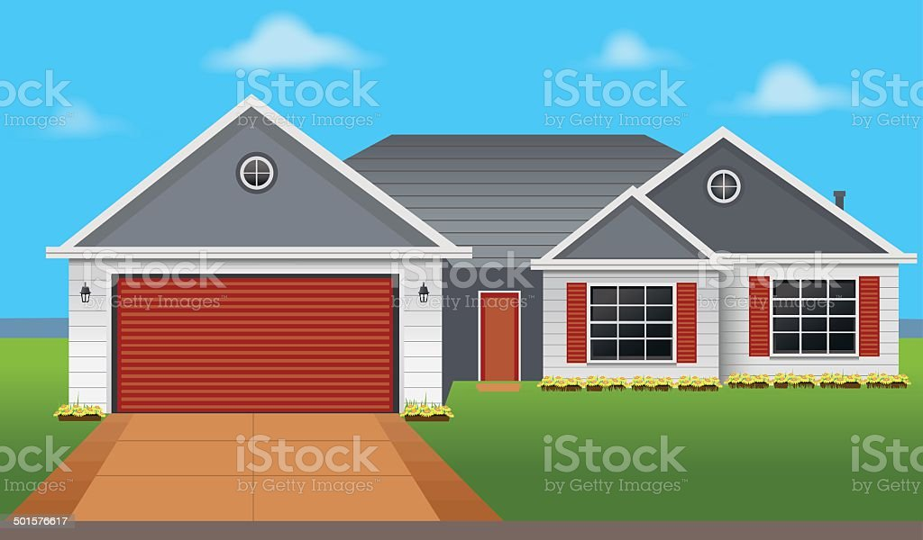Colorful country House vector art illustration