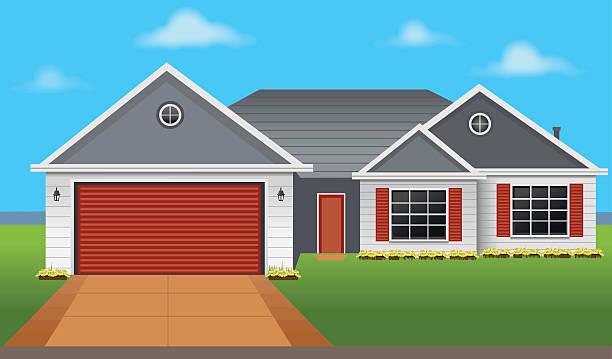 ilustrações de stock, clip art, desenhos animados e ícones de colorido país casa - house garage