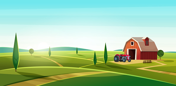 Colorful countryside landscape with a barn and tractor on the hill. Rural location. Cartoon modern vector illustration