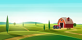 Colorful countryside landscape with a barn and tractor on the hill. Rural location. Cartoon modern vector illustration.