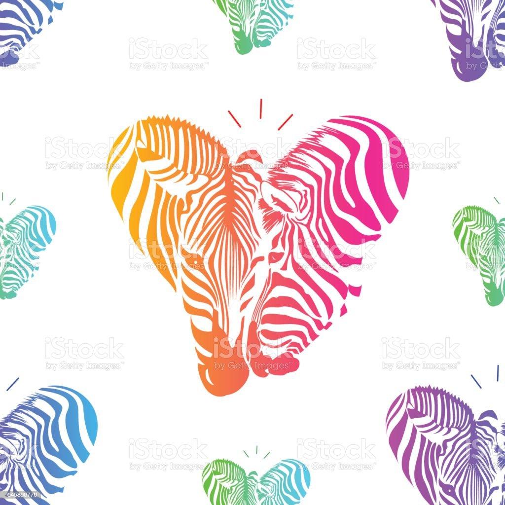 Colorful couple zebra head in heart shape