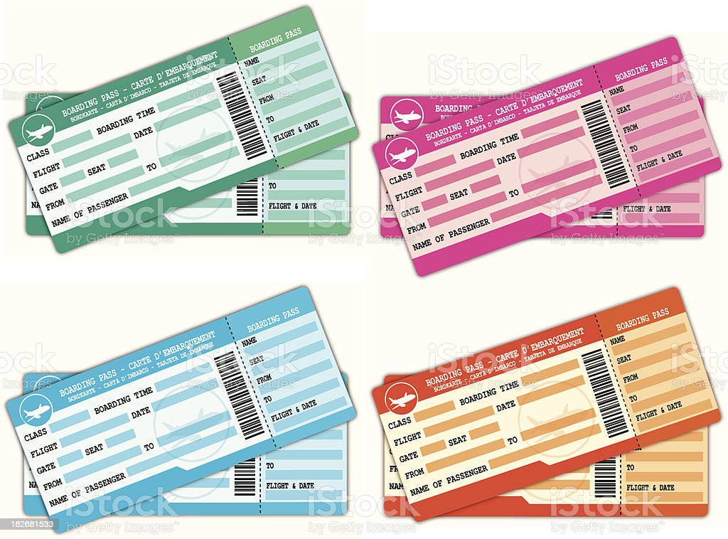 Colorful couples of boarding passes. royalty-free stock vector art