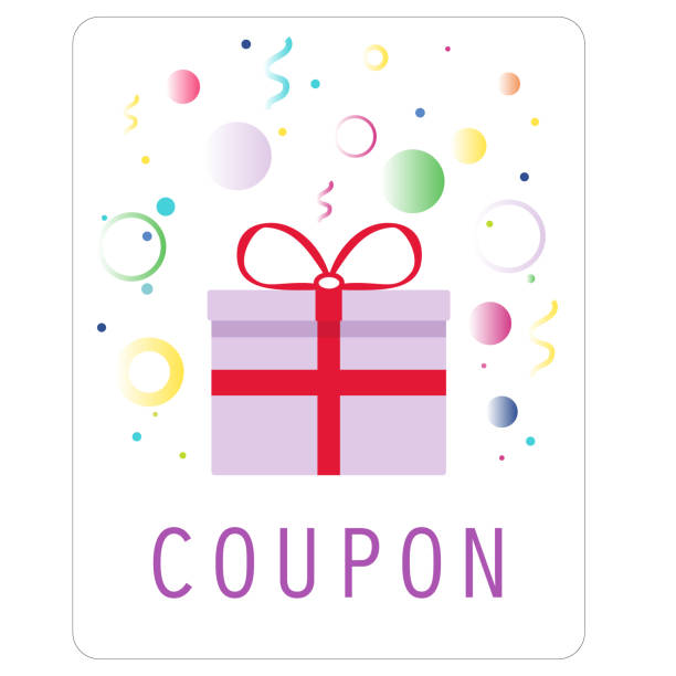 Colorful coupon with purple gift box, ribbons and confetti. Sale, promotion concept. Vector vector art illustration