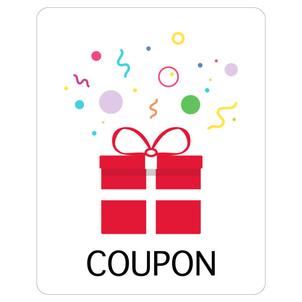 Colorful coupon with red gift box, ribbons and confetti. Sale, promotion concept. Vector vector art illustration