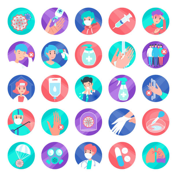 colorful cover-19 round icon set vector art illustration