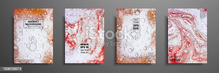 Colorful covers design set with textures. Closeup of the painting. Abstract bright hand painted background, fluid acrylic painting on canvas. Fragment of artwork. Modern art