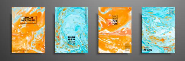 ilustrações, clipart, desenhos animados e ícones de colorful abrange design definido com texturas. closeup da pintura. mão brilhante abstrato pintado fundo, líquido acrílico, pintura sobre tela. fragmento de obra de arte. arte moderna. - misturando