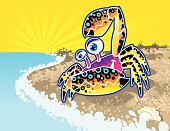 A vector illustrated illustration of a colorful crab ready to take a swim. Simple gradients and blends used.
