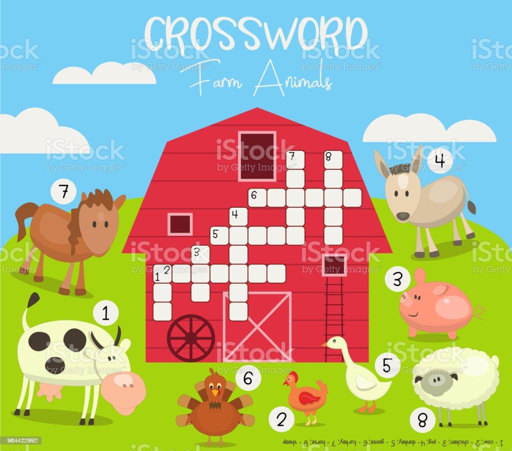 Kleurrijke kruiswoordraadsel in het Engels - Royalty-free Begrippen vectorkunst