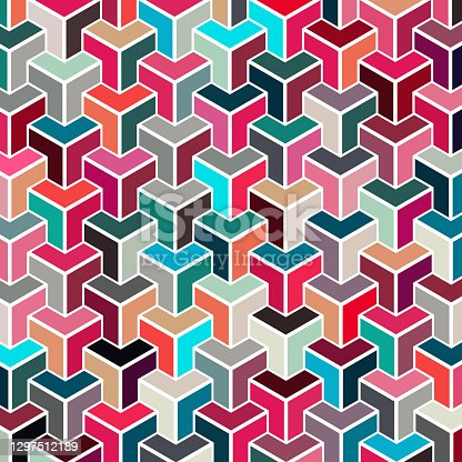 istock colorful cube seamless pattern textile 1297512189