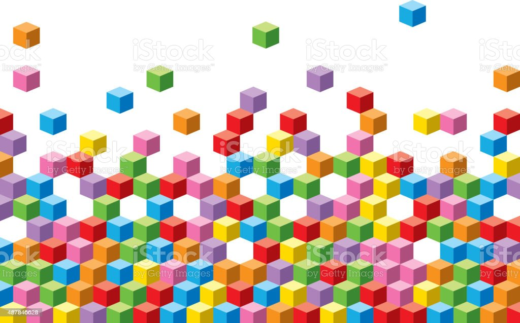 Colorful cubes background vector art illustration