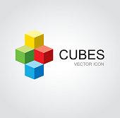 Colorful cubes symbol