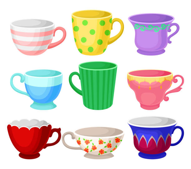 stockillustraties, clipart, cartoons en iconen met kleurrijke cup set, verschillende thee of koffie kopjes vector illustraties op een witte achtergrond - theekop