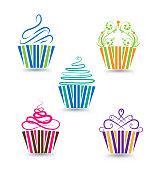 Cupcakes Happy Birthday stylized swirly design