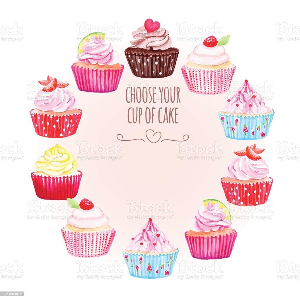 ilustração de colorido desenho de vetor redondo quadro cupcakes e