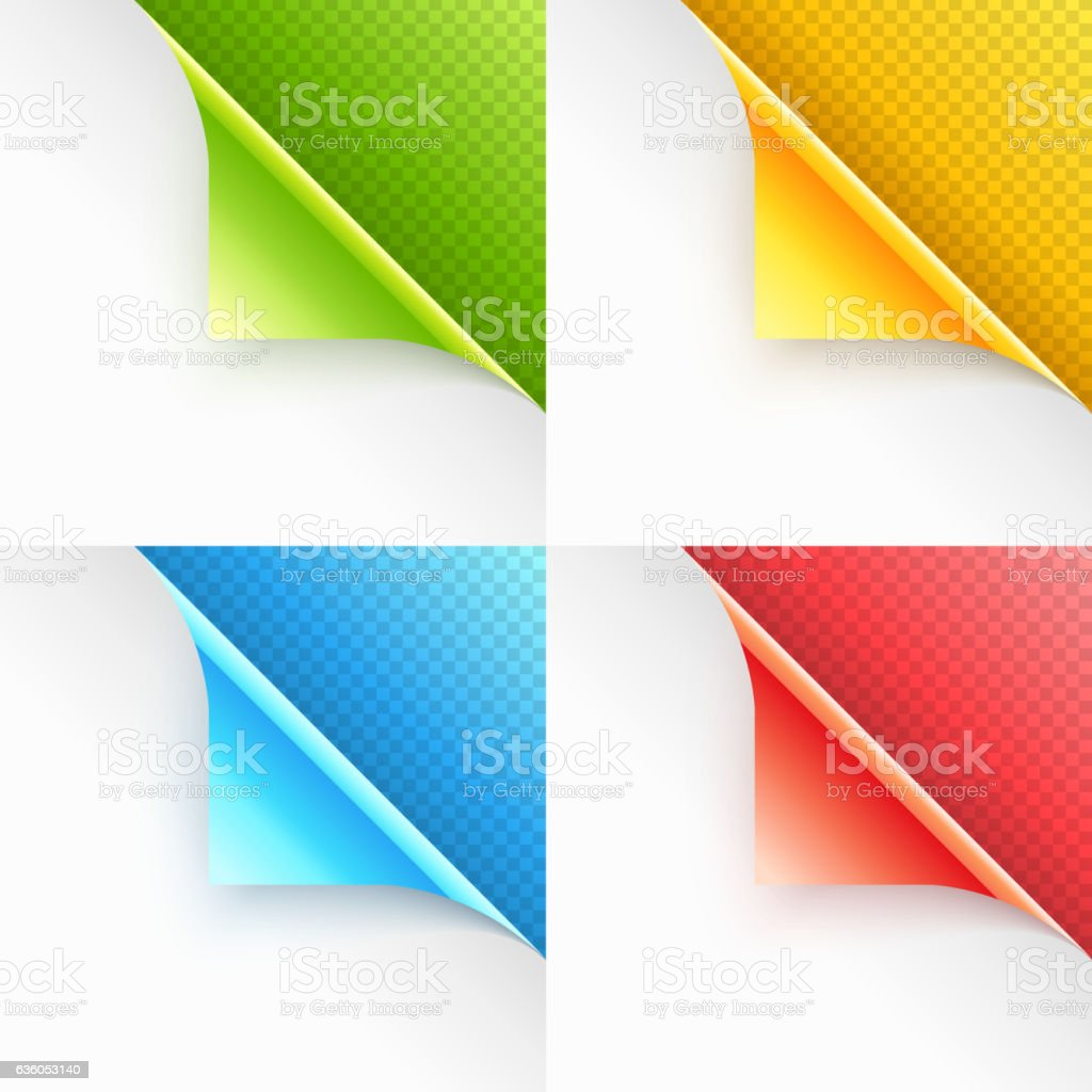 Colorful Curled Page Corners with Shadow on Transparent Background vector art illustration