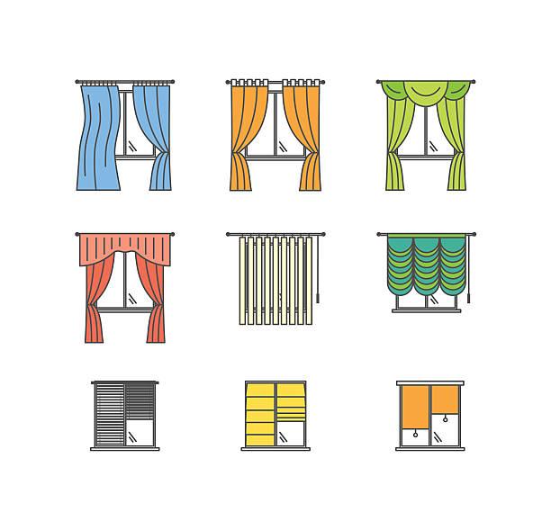 colorful curtains types thin line set. vector - stoffrollos stock-grafiken, -clipart, -cartoons und -symbole