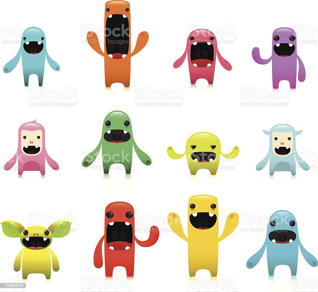 Colorful Cute Characters Set With Expressions royalty-free stock vector art