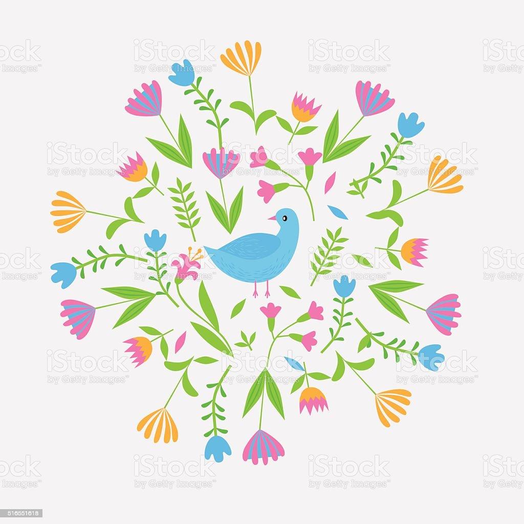 かわいい花に設定カラフルな葉と花 イラストレーションのベクター