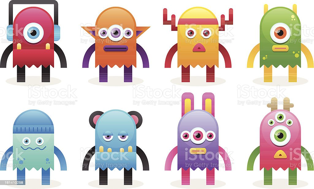 Colorful Cute Monsters royalty-free stock vector art