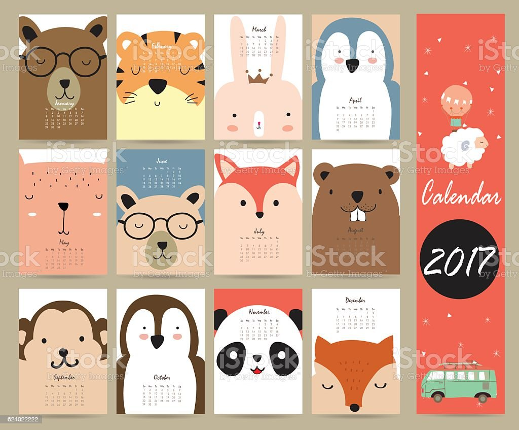 Colorful cute monthly calendar 2017 with bear,penguin,monkey and - Illustration vectorielle