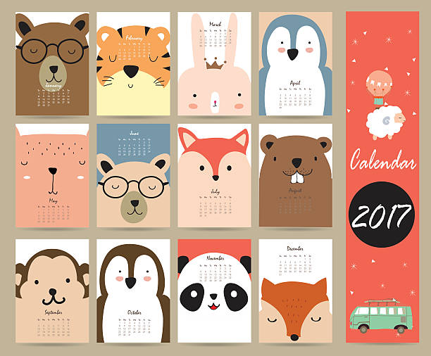 ilustraciones, imágenes clip art, dibujos animados e iconos de stock de colorful cute monthly calendar 2017 with bear,penguin,monkey and - calendario de animales