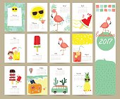 Colorful cute monthly calendar 2017 with Flamingo,ice cream,pineapple,sun,van in summer travel.Can be used for web,banner,poster,label and printable
