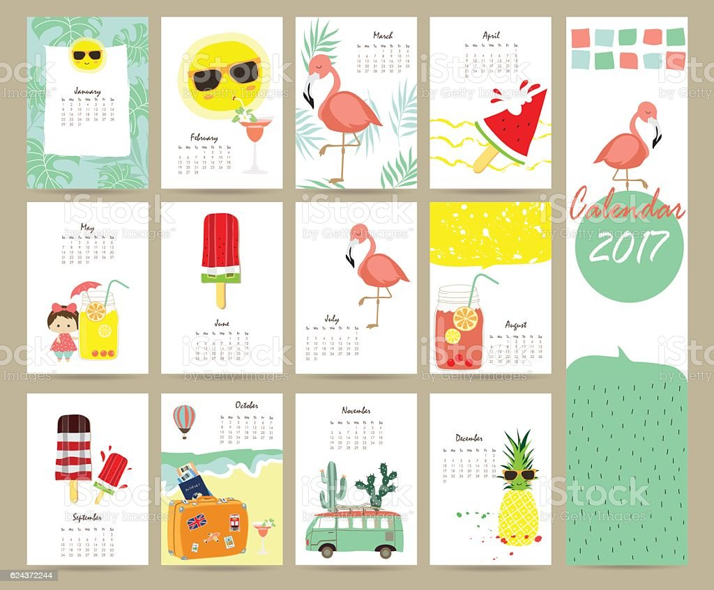 Colorful cute monthly calendar 2017 with Flamingo,ice cream vector art illustration