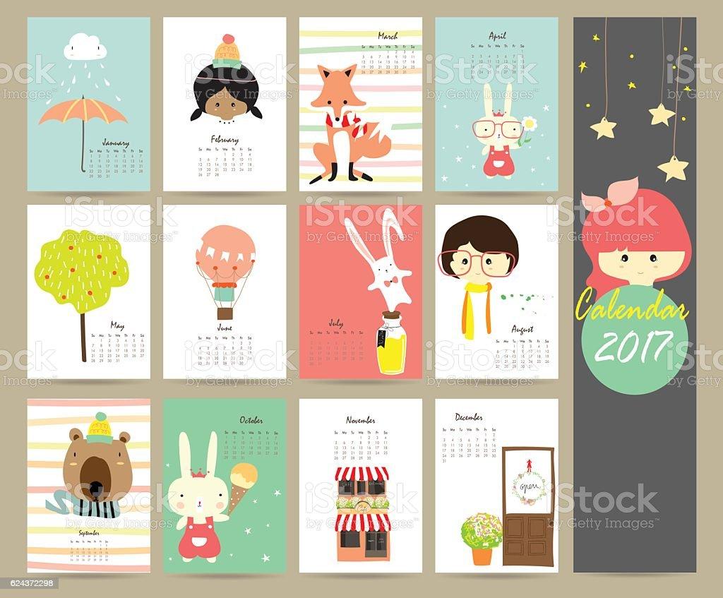 Colorful cute monthly calendar 2017 with fox,balloon,bear,tree – Vektorgrafik