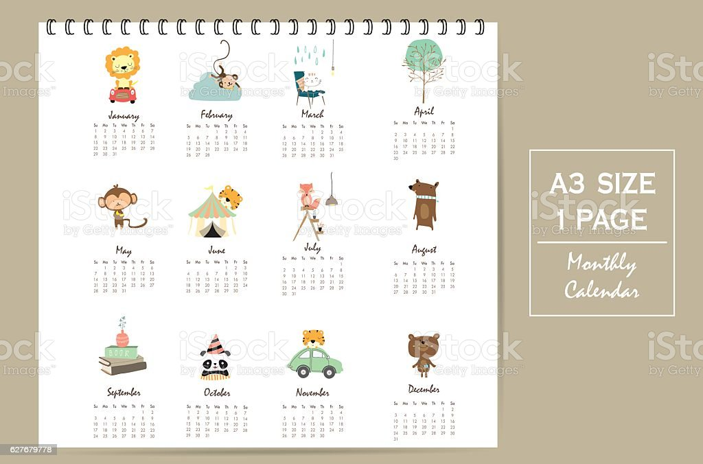 colorful cute monthly calendar 2017 with lion,tiger,panda,tree ベクターアートイラスト